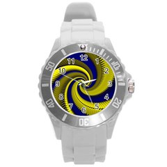 Blue Gold Dragon Spiral Round Plastic Sport Watch (l)