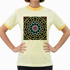 Colored Window Mandala Women s Fitted Ringer T Shirts
