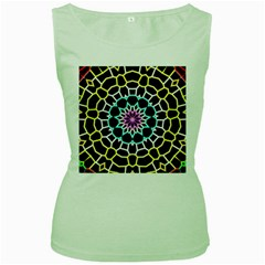 Colored Window Mandala Women s Green Tank Top