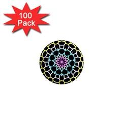 Colored Window Mandala 1  Mini Magnets (100 Pack)