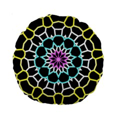 Colored Window Mandala Standard 15  Premium Round Cushions