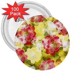 Flower Power 3  Buttons (100 Pack)