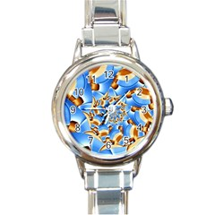 Gold Blue Bubbles Spiral Round Italian Charm Watch