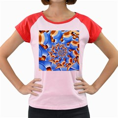 Gold Blue Bubbles Spiral Women s Cap Sleeve T Shirt