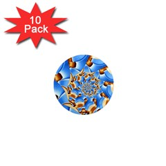 Gold Blue Bubbles Spiral 1  Mini Magnet (10 Pack)