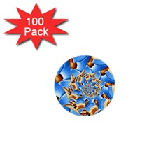 Gold Blue Bubbles Spiral 1  Mini Buttons (100 Pack)
