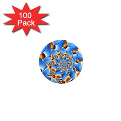 Gold Blue Bubbles Spiral 1  Mini Magnets (100 Pack)