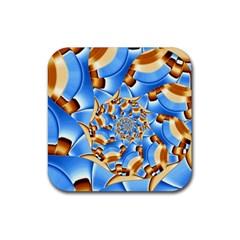 Gold Blue Bubbles Spiral Rubber Coaster (square)