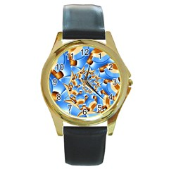 Gold Blue Bubbles Spiral Round Gold Metal Watch