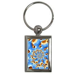 Gold Blue Bubbles Spiral Key Chains (rectangle)