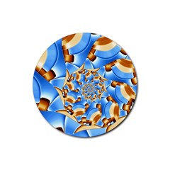 Gold Blue Bubbles Spiral Rubber Round Coaster (4 Pack)