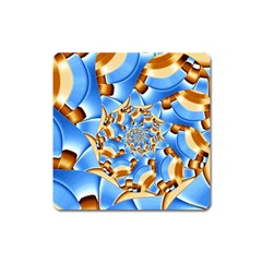 Gold Blue Bubbles Spiral Square Magnet