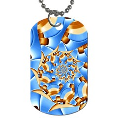 Gold Blue Bubbles Spiral Dog Tag (two Sides)