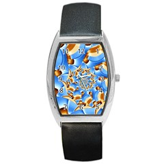 Gold Blue Bubbles Spiral Barrel Style Metal Watch