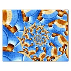 Gold Blue Bubbles Spiral Rectangular Jigsaw Puzzl