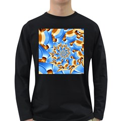 Gold Blue Bubbles Spiral Long Sleeve Dark T Shirts