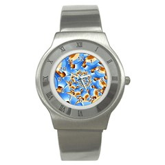 Gold Blue Bubbles Spiral Stainless Steel Watch