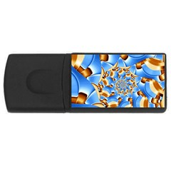 Gold Blue Bubbles Spiral Rectangular Usb Flash Drive