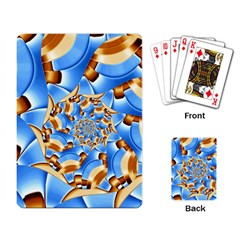 Gold Blue Bubbles Spiral Playing Card