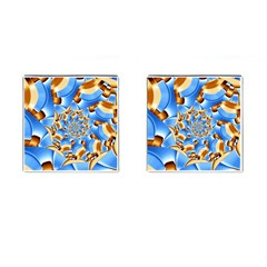 Gold Blue Bubbles Spiral Cufflinks (square)