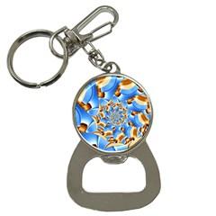 Gold Blue Bubbles Spiral Button Necklaces