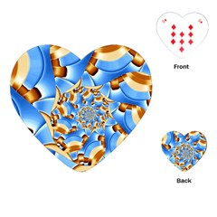 Gold Blue Bubbles Spiral Playing Cards (heart)