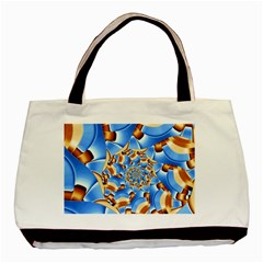 Gold Blue Bubbles Spiral Basic Tote Bag