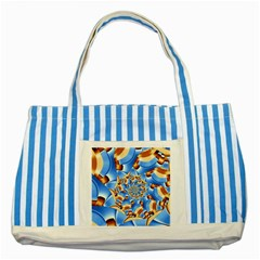 Gold Blue Bubbles Spiral Striped Blue Tote Bag