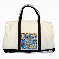 Gold Blue Bubbles Spiral Two Tone Tote Bag