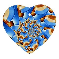 Gold Blue Bubbles Spiral Heart Ornament (two Sides)
