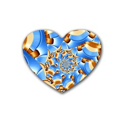 Gold Blue Bubbles Spiral Heart Coaster (4 Pack)