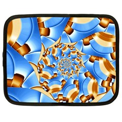 Gold Blue Bubbles Spiral Netbook Case (large)
