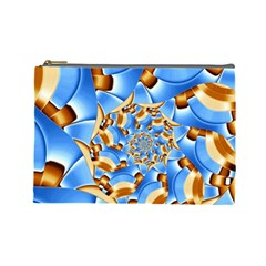 Gold Blue Bubbles Spiral Cosmetic Bag (large)