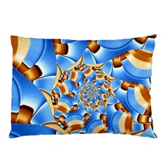 Gold Blue Bubbles Spiral Pillow Case (two Sides)