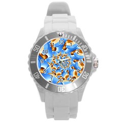 Gold Blue Bubbles Spiral Round Plastic Sport Watch (l)