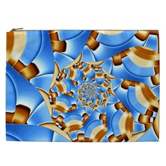 Gold Blue Bubbles Spiral Cosmetic Bag (xxl)