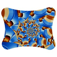 Gold Blue Bubbles Spiral Jigsaw Puzzle Photo Stand (bow)