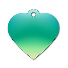 Sealife Green Gradient Dog Tag Heart (one Side)
