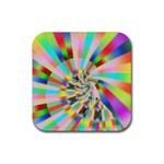 Irritation Funny Crazy Stripes Spiral Rubber Square Coaster (4 pack)  Front