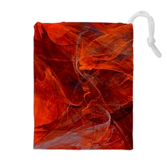 Swirly Love In Deep Red Drawstring Pouches (extra Large)