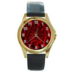 Metallic Red Rose Round Gold Metal Watch