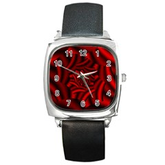 Metallic Red Rose Square Metal Watch