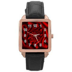 Metallic Red Rose Rose Gold Leather Watch