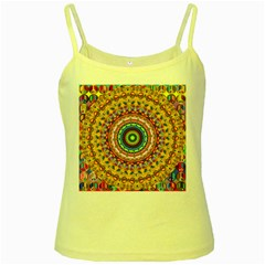 Peaceful Mandala Yellow Spaghetti Tank