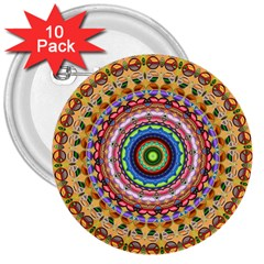 Peaceful Mandala 3  Buttons (10 Pack)