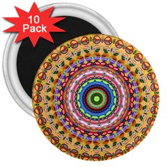 Peaceful Mandala 3  Magnets (10 Pack)