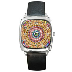 Peaceful Mandala Square Metal Watch