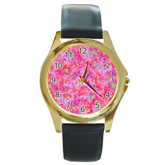 The Big Pink Party Round Gold Metal Watch