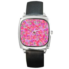 The Big Pink Party Square Metal Watch