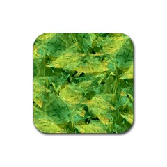 Green Springtime Leafs Rubber Coaster (square)
